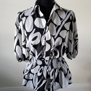 B2G1 Worthington Black/White Retro Circle Blouse